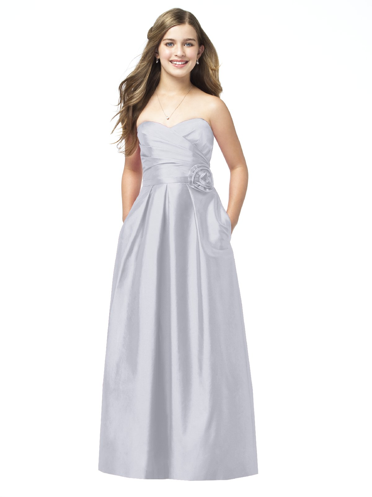 Silver A Line Strapless Sweetheart Zipper Floor Length Satin Prom Dresses With Flowers And Pockets