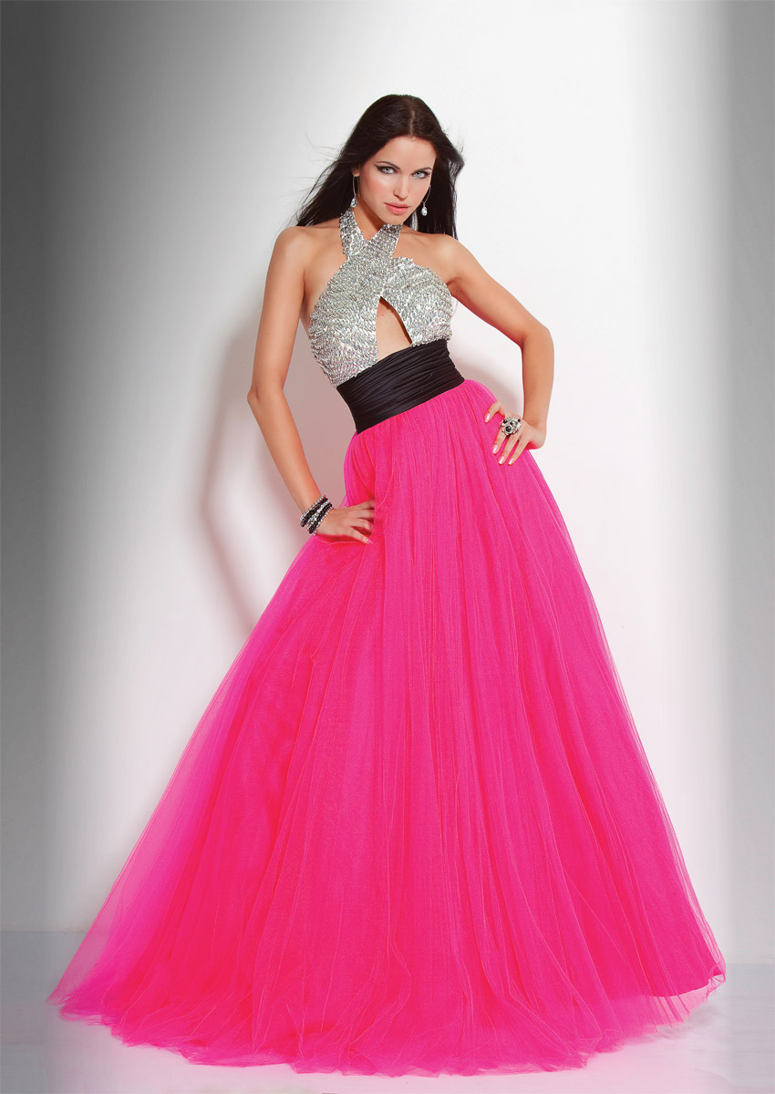 Silver And Fuchsia A Line Halter Backless Beading Floor Length Evening Dresses With Black Sash