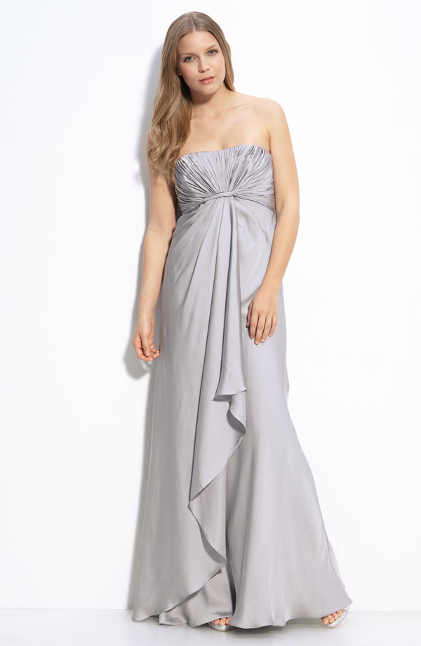 Silver Column Strapless Full Length Zipper Bridesmaid Dresses With Ruffles