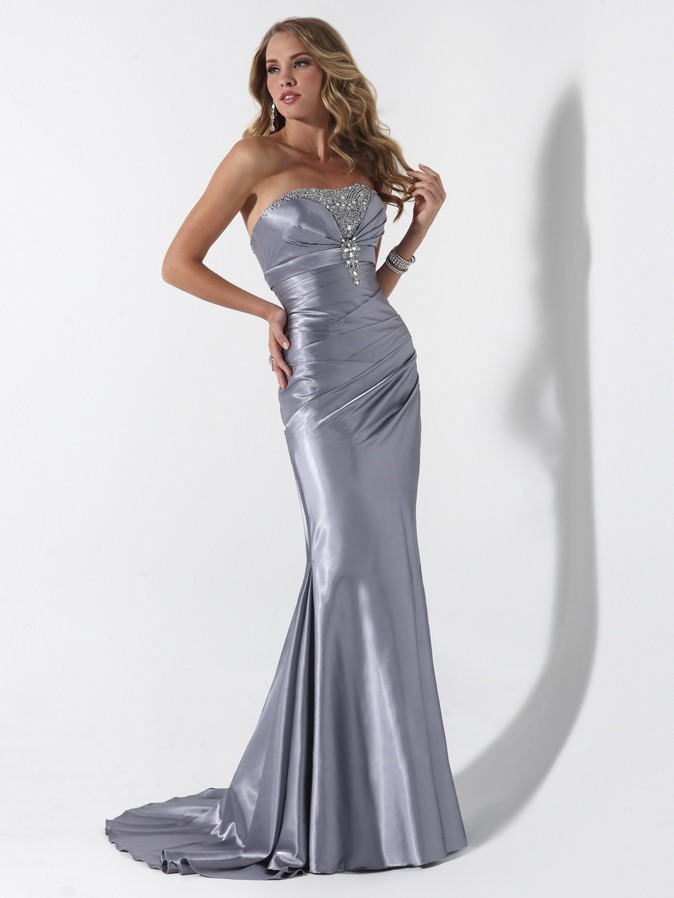 Silver Mermaid Strapless Lace Up Sweep Train Full Length Prom Dresses With Beading And Drapes