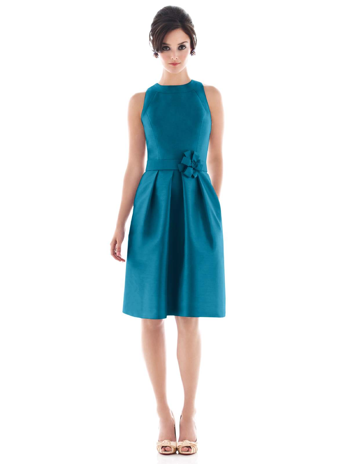 Teal A Line Jewel And Sleeveless Zipper Knee Length Satin Prom Dresses With Draped Skirt