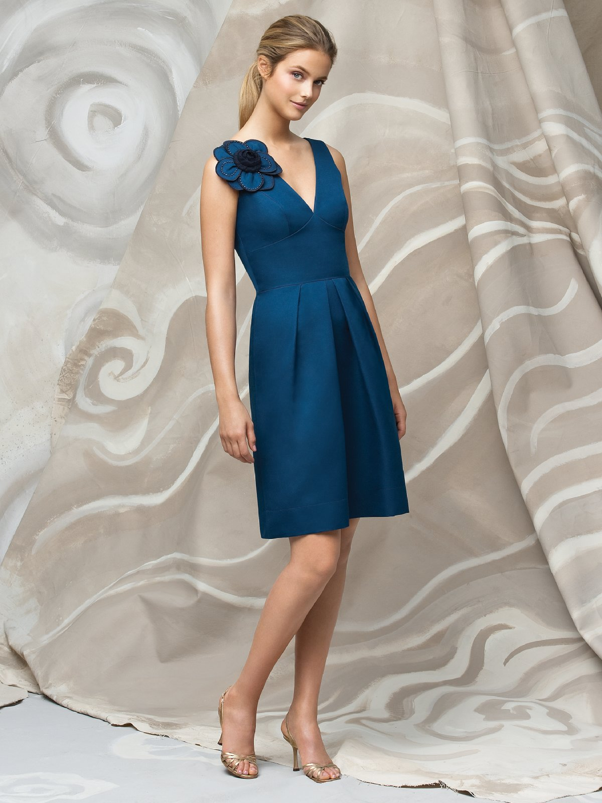 Teal A Line V Neck Knee Length Satin Prom Dresses With Draped Skirt And Flowers