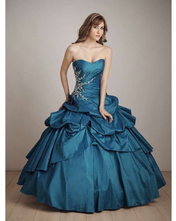 Teal Ball Gown Strapless Sweetheart Bandage Full Length Quinceanera Dresses With Embroidery And Drapes