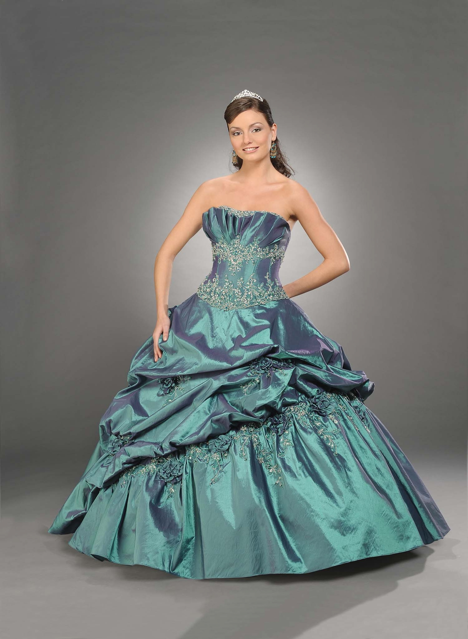 Teal Ball Gown Strapless Full Length Quinceanera Dresses With Beading And Twist Draped