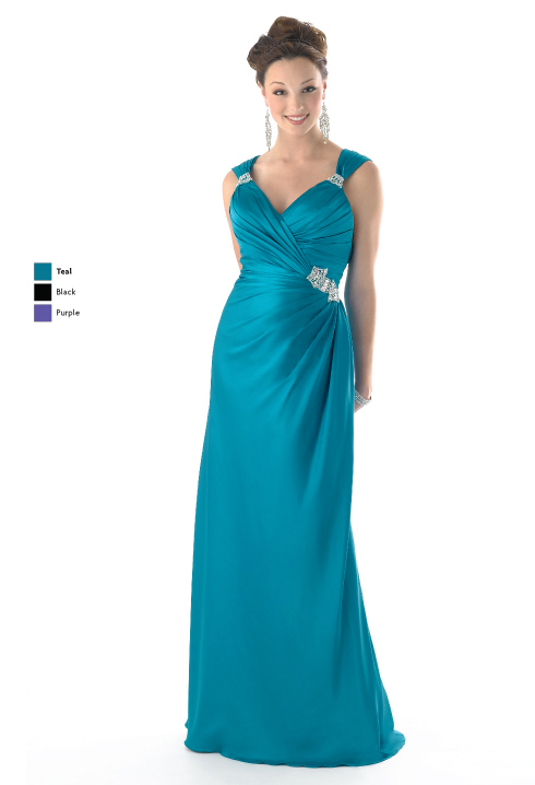 Teal Column V Neck Cross Back Floor Length Satin Prom Dresses With Beading And Drapes