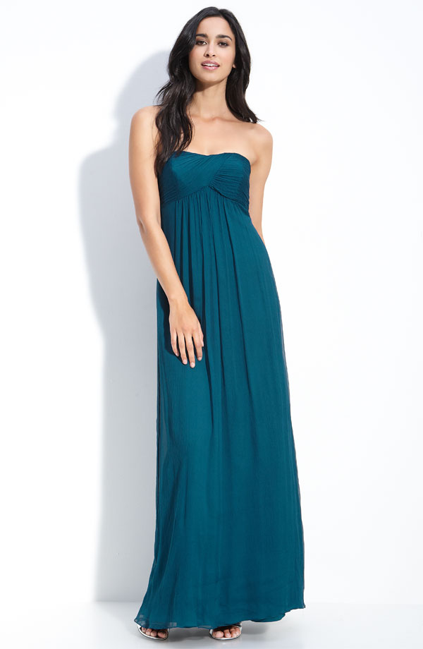 Teal Empire Strapless Zipper Ankle Length Chiffon Prom Dresses With Twist Drapes