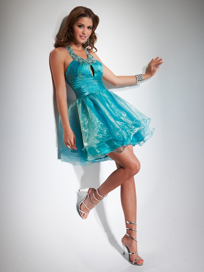 Turquoise Halter Low Back A Line Short Mini Homecoming Dresses With Jewel And Ruches