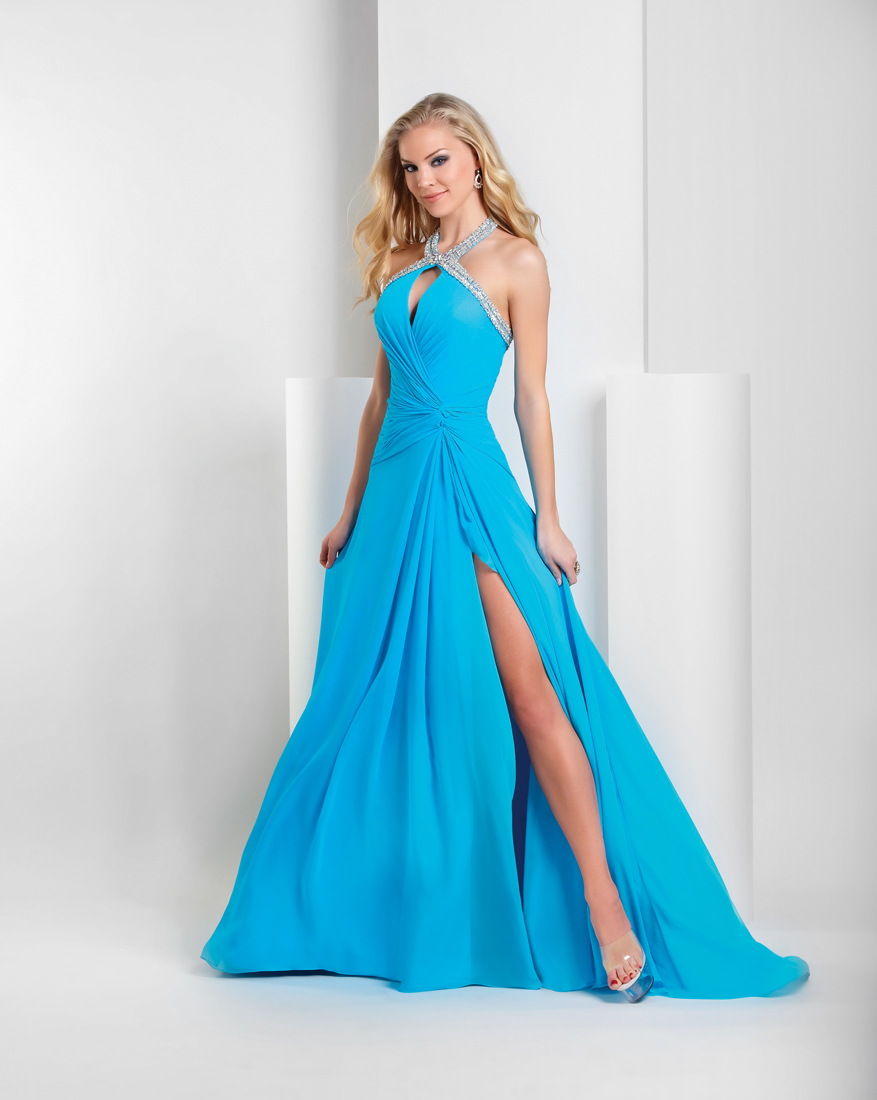 Turquoise A Line Halter Low Back High Slit Sweep Train Floor Length Sequined Chiffon Prom Dresses