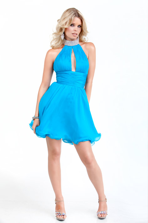 Turquoise A Line High Neck Zipper Short Mini Chiffon Cocktail Dresses With Beading And Ruffles