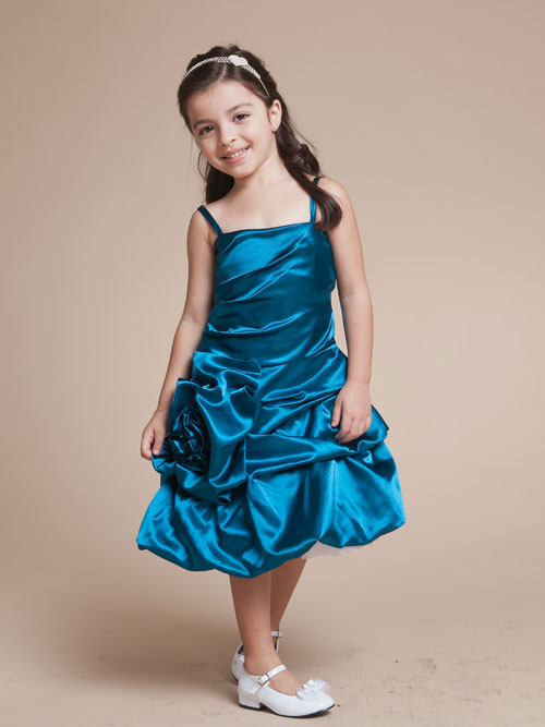Teal Spaghetti Straps Zipper Tea Length A Line Flower Girl Dresses With Flowers And Twist Drapes