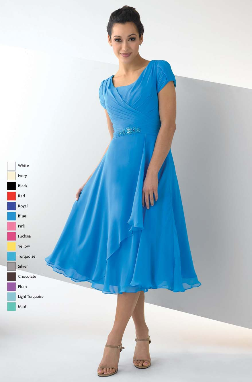 Turquoise Square Neckline And Short Sleeves Zipper Tea Length A Line Mother Of Bride Dresses With Ruffles