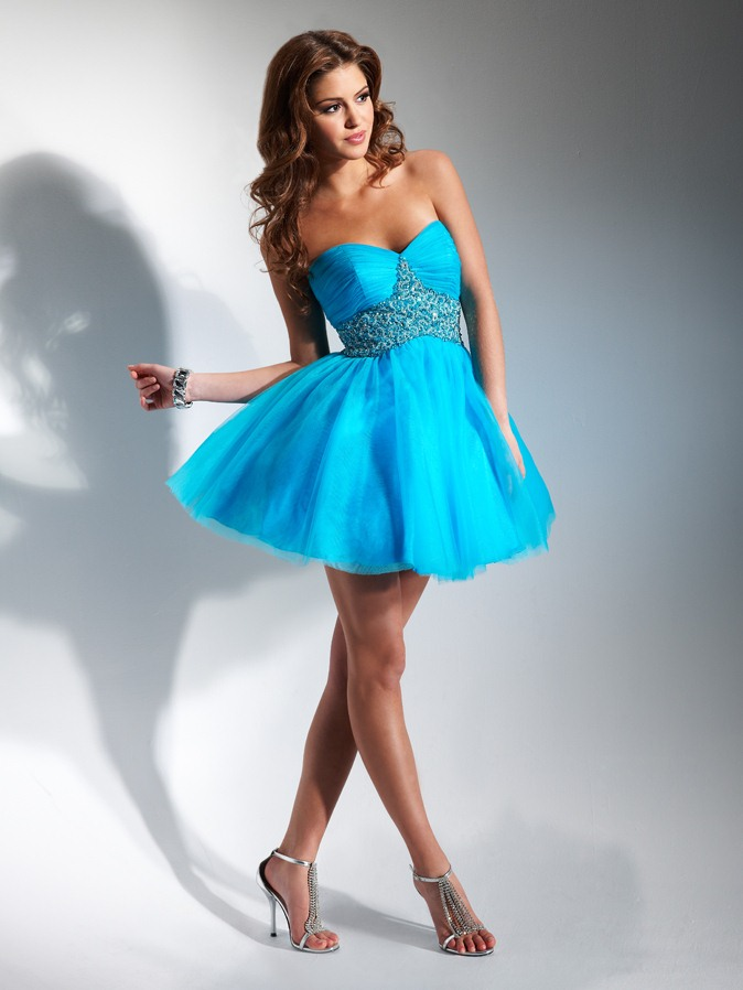Turquoise Empire Strapless Sweetheart Short Mini Homecoming Dresses With Beading