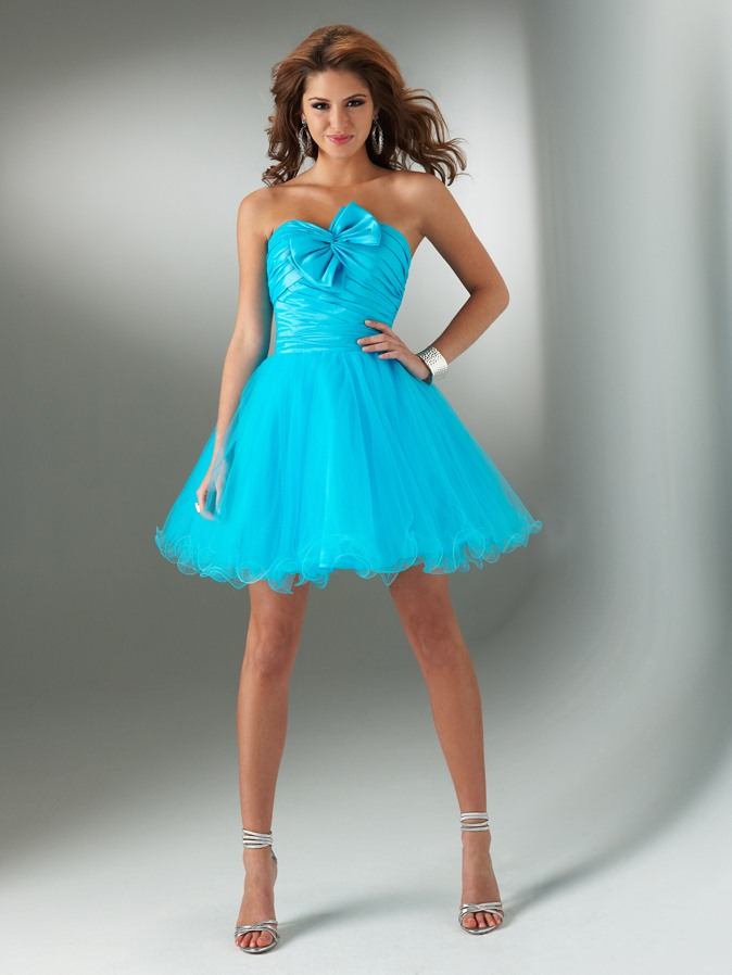 Turquoise A Line Strapless Lace Up Short Mini Pleated Tulle Homecoming Dresses With Bownot