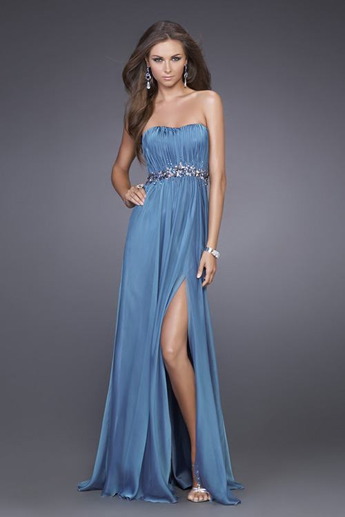 Blue A Line Strapless Sweep Train Floor Length Evening Dresses With Beading And Side Slit