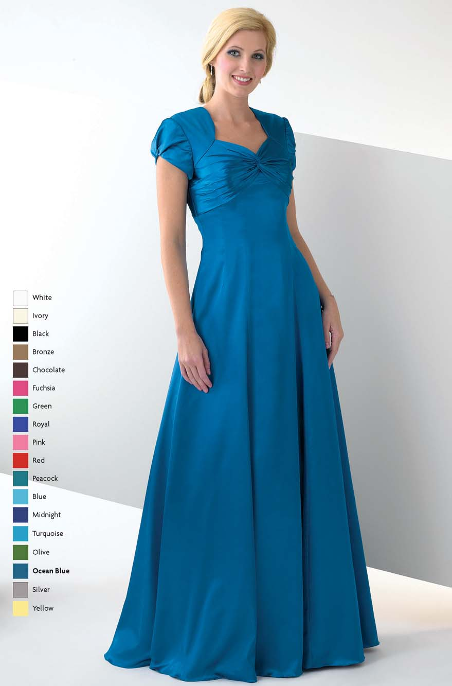 Blue A Line Sweetheart Short Sleeve Floor Length Mother Of Bride Dresses With Drapes