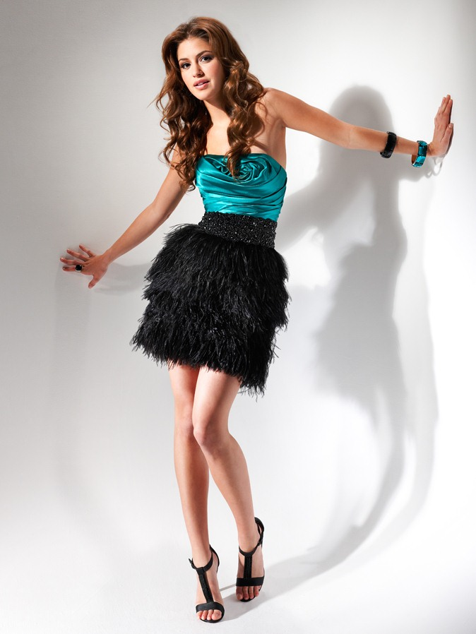 Turquoise And Black Column Strapless Lace Up Short Mini Tiered Homecoming Dresses With Beading And Tassels