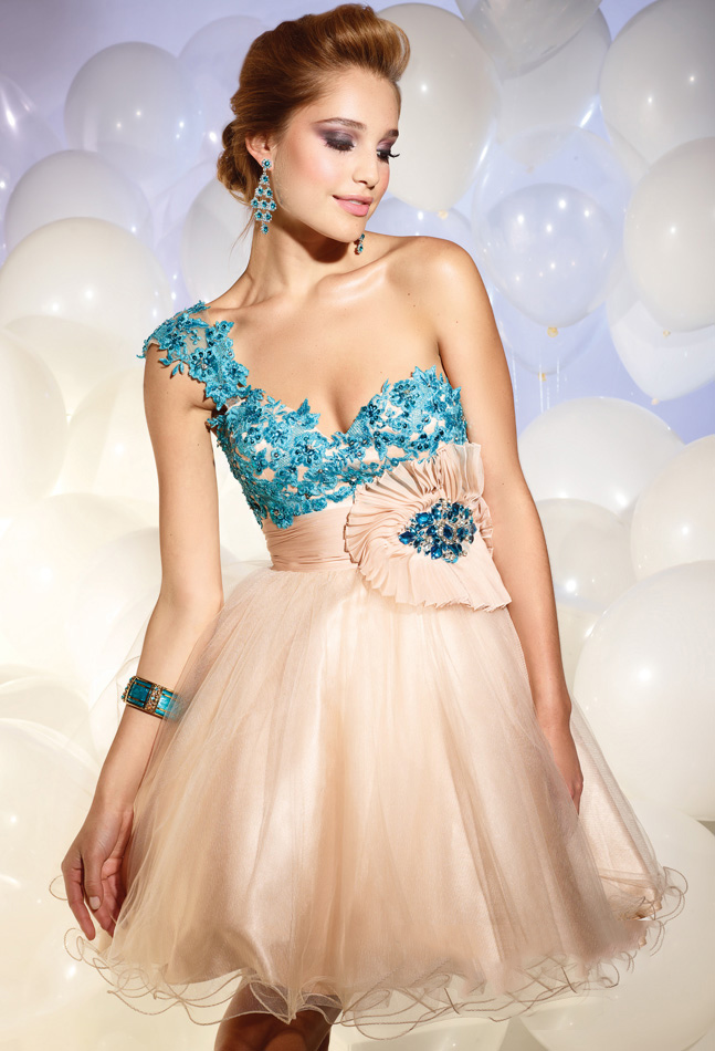 Turquoise And Champagne A Line One Shoulder Low Back Short Mini Tulle Cocktail Dresses With Embroidery