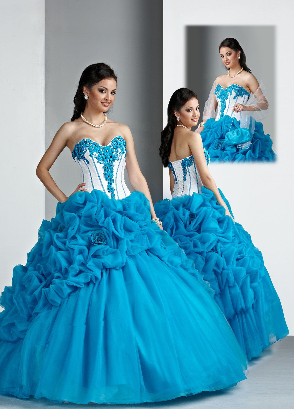 Turquoise And White Strapless Sweetheart Lace Up Floor Length Ball Gown Quinceanera Dresses With Appliques And Ruffles