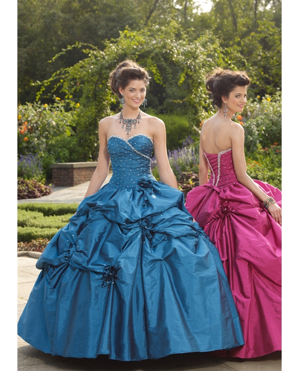 Marine Blue Ball Gown Strapless Sweetheart Lace Up Full Length Ruffled Quinceanera Dresses With Sequins And Flowers