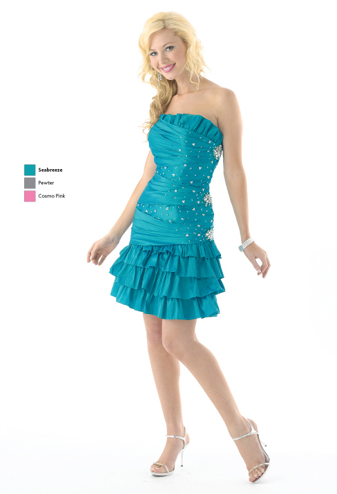 Seabreeze Column Strapless Lace Up Short Mini Satin Prom Dresses With Beading And Ruffles