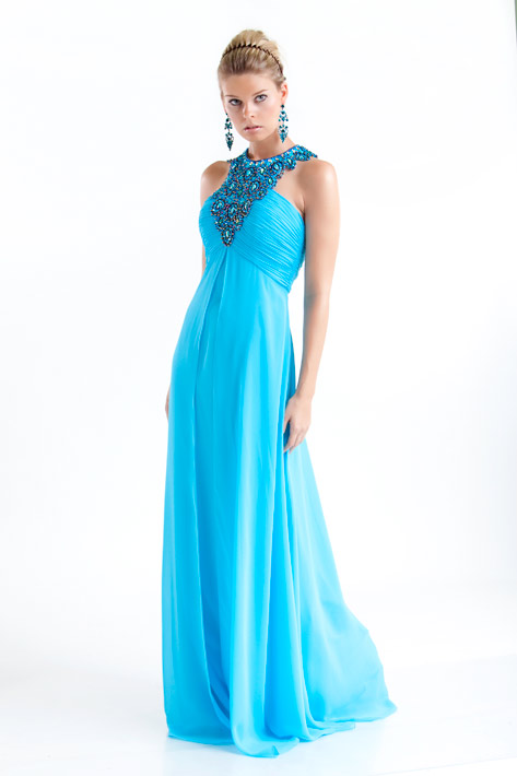Turquoise Empire Jewel Zipper Full Length Lightweight Evening Dresses With Beading Appliques
