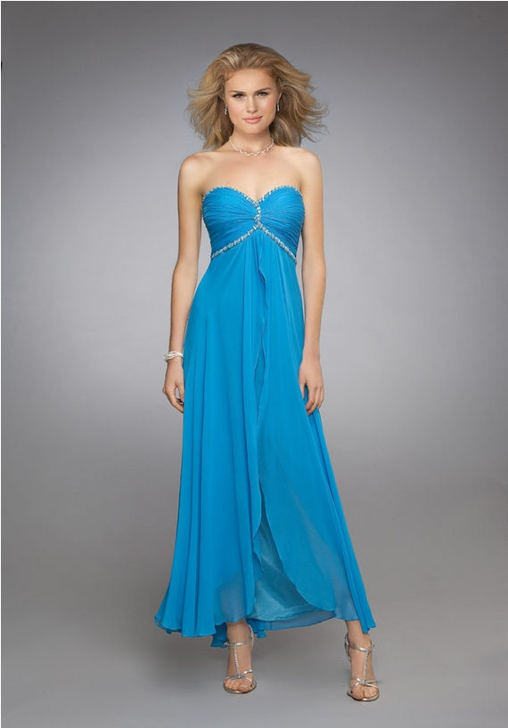 Strapless Sweetheart Zipper Ankle Length Turquoise Empire Evening Dresses With Beading And Ruffles