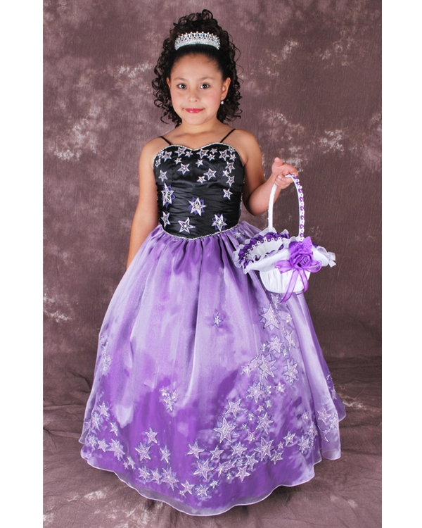 Black And Violet Ball Gown Spaghetti Straps Lace Up Full Length Flower Girl Dresses With Star Appliques