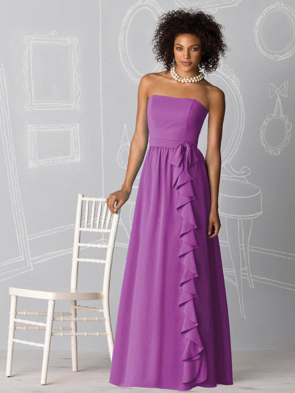 Violet Column Strapless Zipper Full Length Chiffon Prom Dresses With Ruffles And Sash