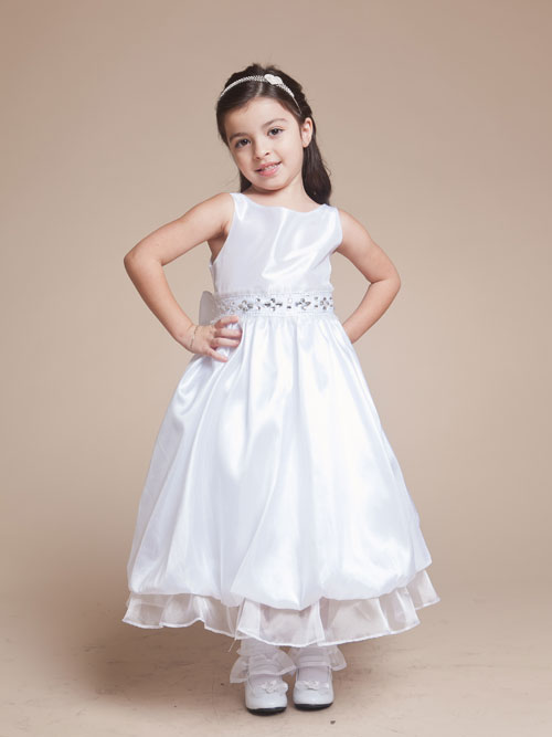 White Bateau Zipper Ankle Length A Line Flower Girl Dresses With Embellished Waist