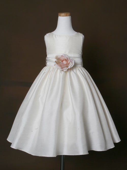 2abe926b591 Ivory Bateau Zipper Ankle Length A Line Flower Girl Dresses With Flower And  Bowknot