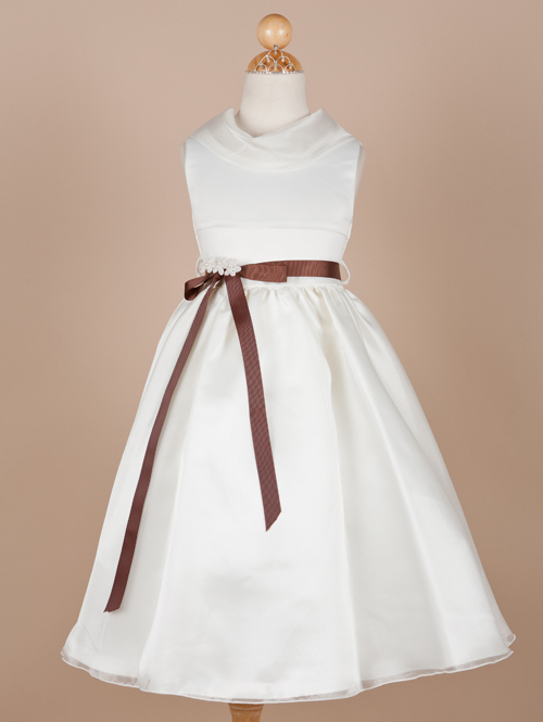 White A Line Jewel Neck Sleeveless Zipper Ankle Length Flower Girl Dresses With Chocolate Sash