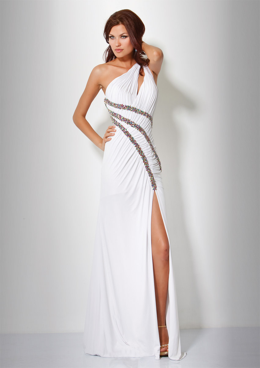 White A Line One Shoulder Open Back High Slit Sweep Train Full Length Evening Dresses With Colorful Beadings