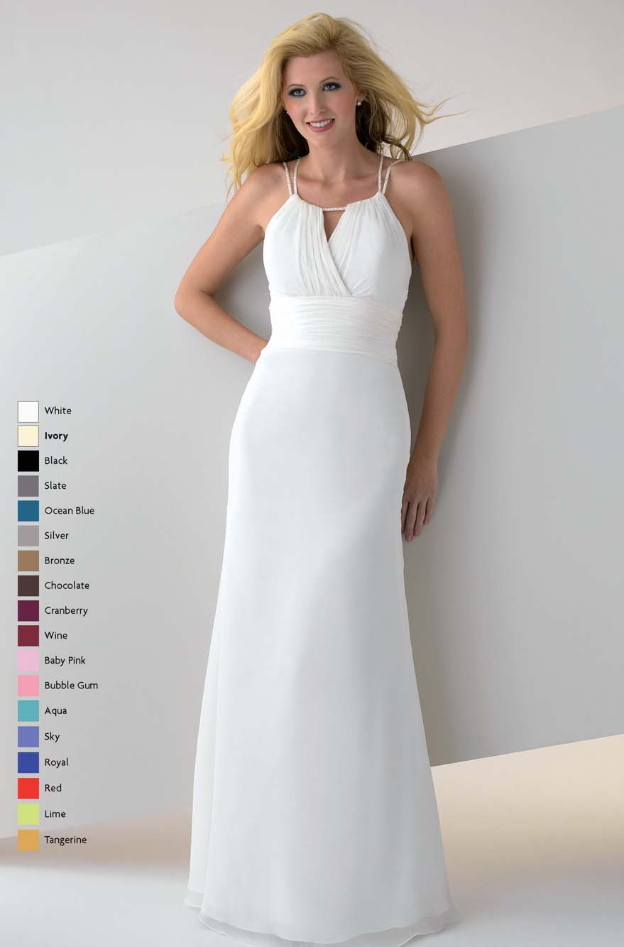 White A Line Spaghetti Straps Open Back Floor Length Chiffon Prom Dresses With Beading And Drapes
