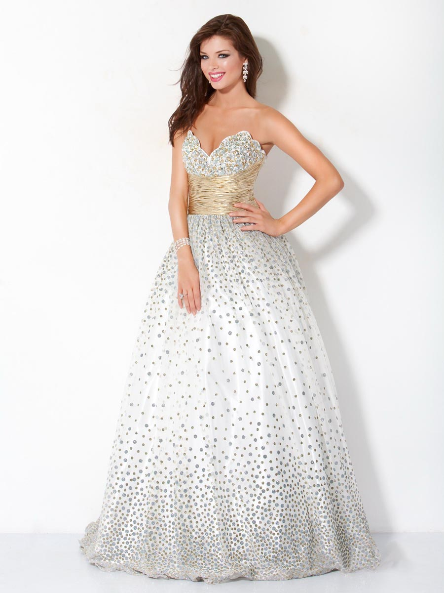 White A Line Sweetheart Floor Length Zipper Sequined Prom Dresses With Champagne Sash