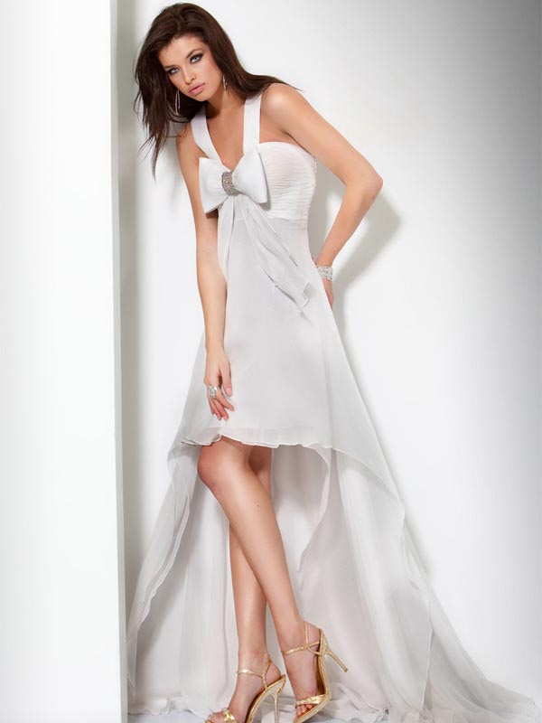 White A Line V Neck Zipper Sweep Train Hi Low Evening Dresses With Bowknot