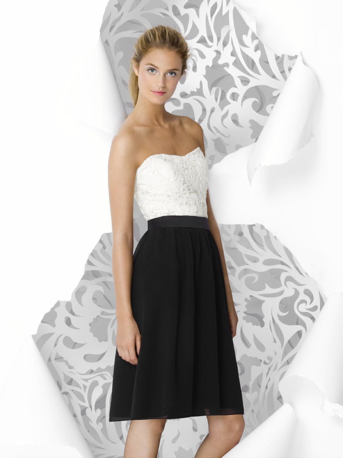 White And Black A Line Strapless Sweetheart Knee Length Lace And Chiffon Prom Dresses