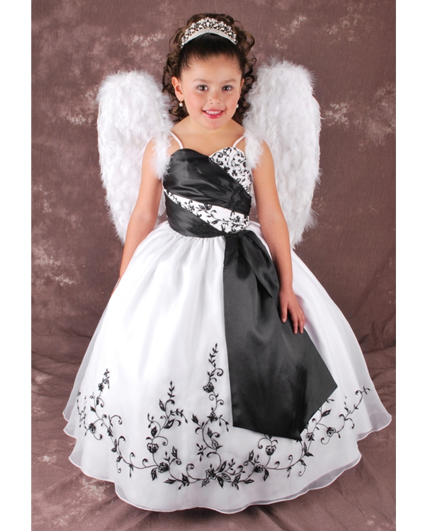 White And Black Ball Gown Spaghetti Straps Lace Up Full Length Flower Girl Dresses With Black Embroidery