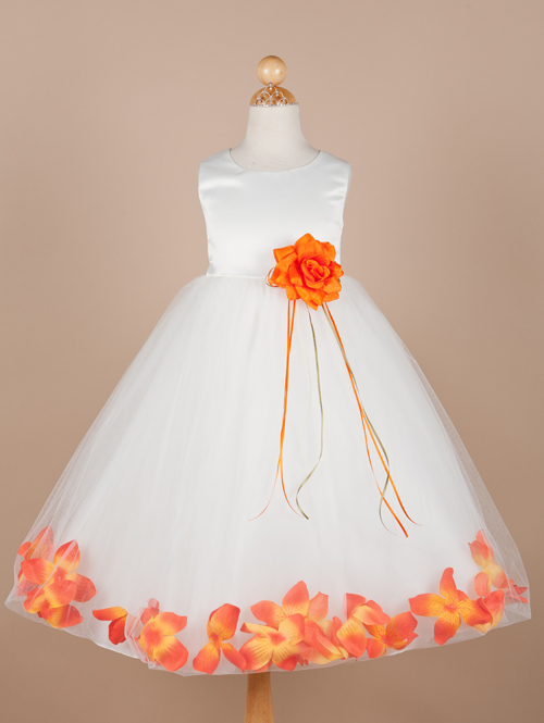 White Sleeveless Bateau Zipper Ankle Length A Line Flower Girl Dresses With Orange Flowers
