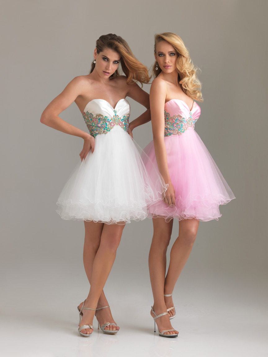 Strapless Sweetheart Mini Length Lace Up Empire Cocktail Dresses With Colorful Sequins