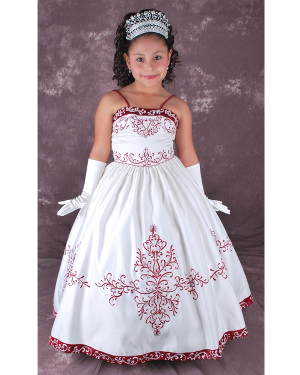 White Spaghetti Straps Floor Length Ball Gown Flower Girl Dresses With Red Embroidery