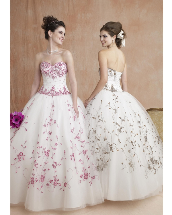 White Ball Gown Strapless Sweetheart Lace Up Full Length Quinceanera Dresses With Fuchsia Embroidery