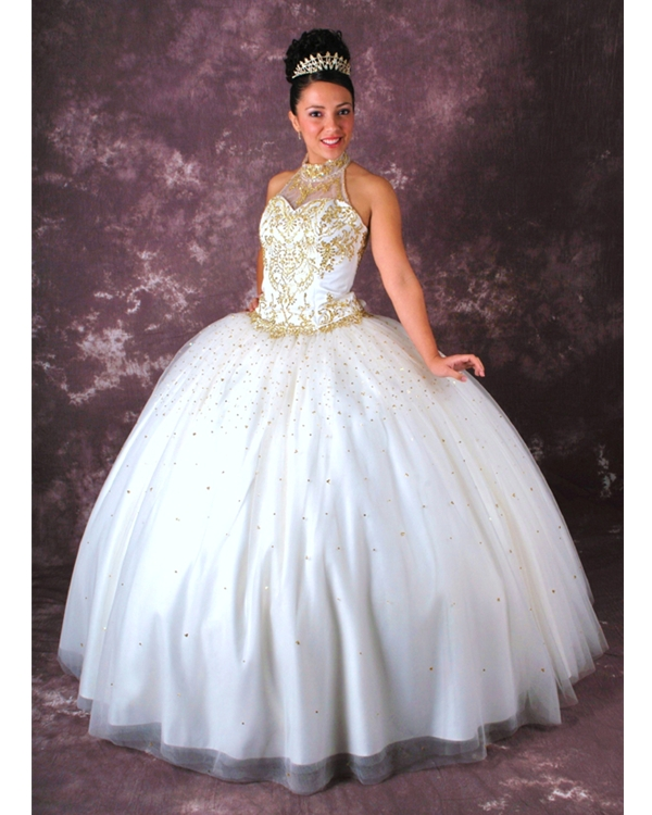 High Neck Lace Up Floor Length Gold Embroidered White Ball Gown Quinceanera Dresses