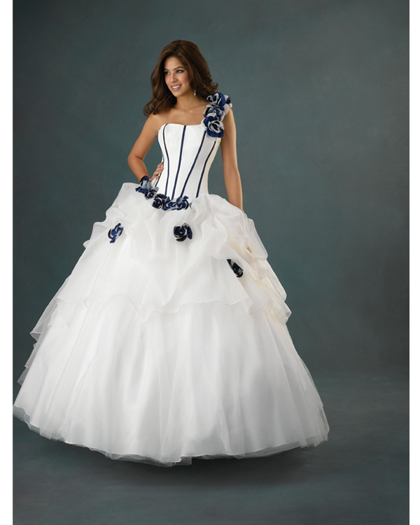 White Ball Gown One Shoulder Lace Up Floor Length Pleated Tulle Quinceanera Dresses With Navy Blue Flowers