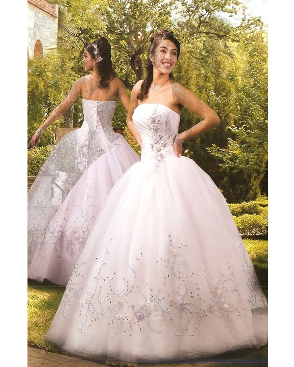32c0a189cce White Ball Gown Strapless Lace Up Floor Length Embroidered Tulle  Quinceanera Dresses