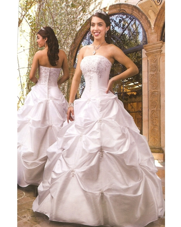 White Ball Gown Strapless Zipper Full Length Ruffled And Embroidered Quinceanera Dresses