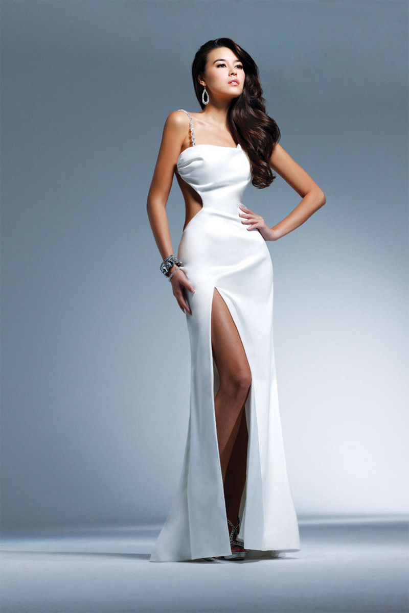 White Sheath Asymmetrical And Strap Open Back Floor Length Satin Evening Dresses With High Slit