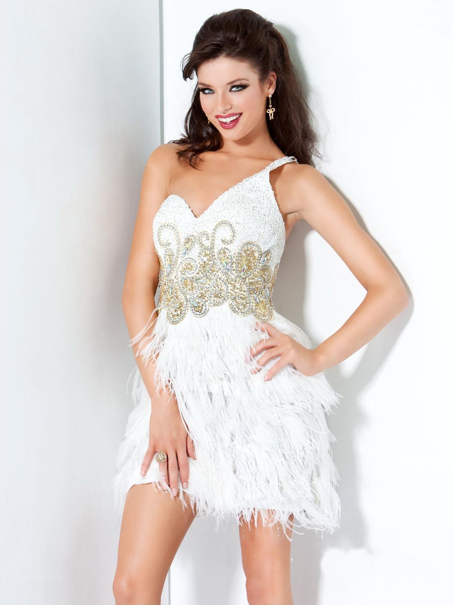 White Column Asymmetrical One Shoulder Mini Zipper Cocktail Dresses With Beads And Feathers