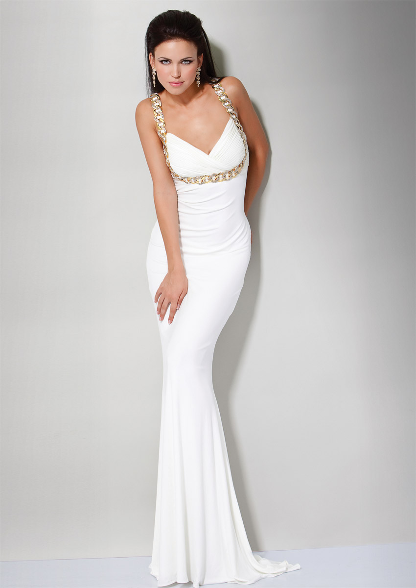White Column Sweetheart Cross Back Sweep Train Floor Length Chiffon Evening Dresses With Rings