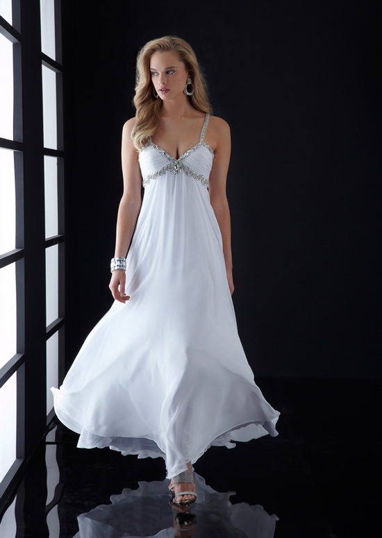 White Empire Deep V Neck And Strap Low Back Sweep Train Full Length Chiffon Evening Dresses With Beadings