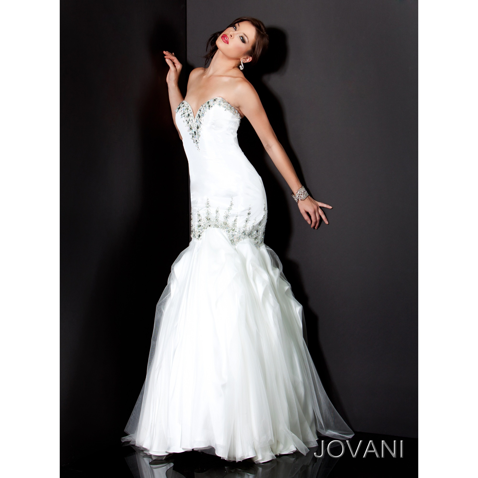White Mermaid Strapless Sweetheart Zipper Full Length Evening Dresses With Beading And Ruffles